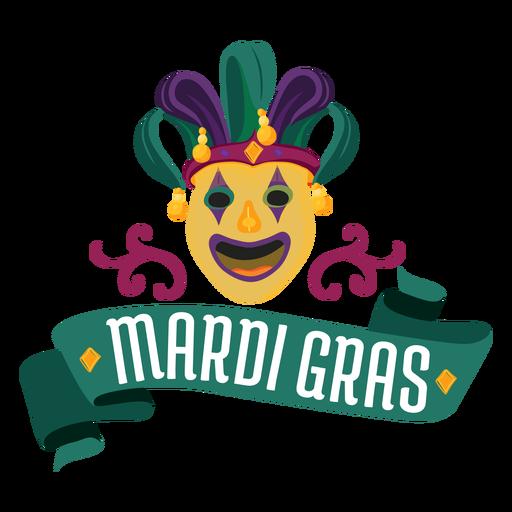 Mardi gras jester mask lettering Transparent PNG