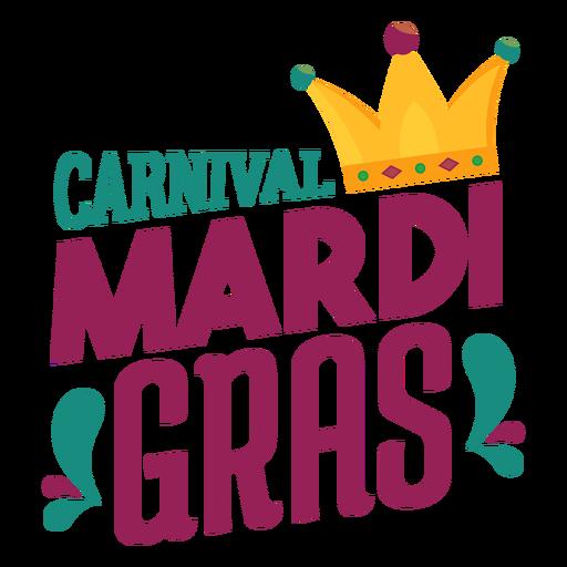 Mardi gras joker hat lettering Transparent PNG