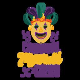 Mardi gras joker mask lettering