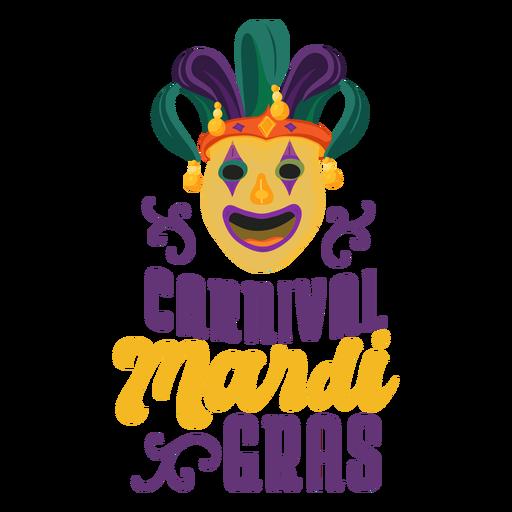 Mardi gras joker mask lettering Transparent PNG