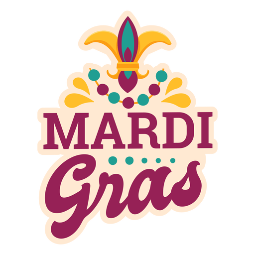 Mardi gras lettering sticker Transparent PNG