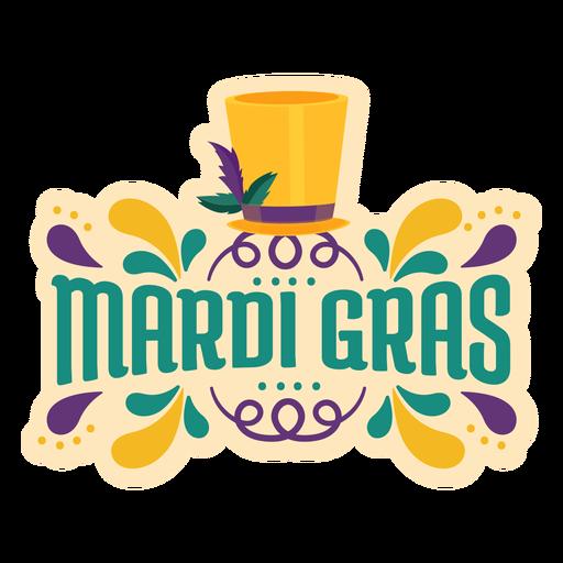 Mardi gras magician hat lettering Transparent PNG