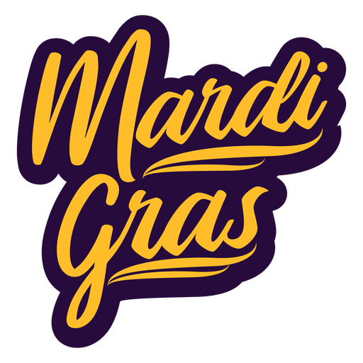 Mardi gras retro lettering Transparent PNG
