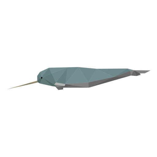 Narwhal side view lowpoly Transparent PNG