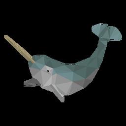 Baleia narval, baixo, poly