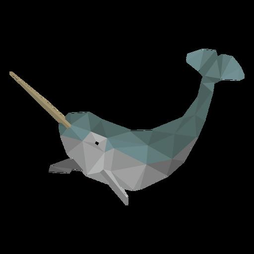 Narwhal ballena baja poli Transparent PNG