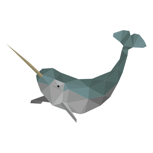 Narwhal whale low poly Transparent PNG