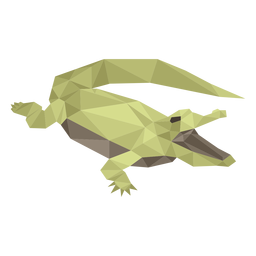 Open mouth alligator low poly