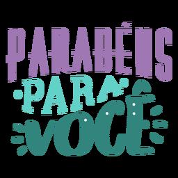 Parabens para voce-Schriftzug
