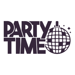 Party Time Discokugel Schriftzug