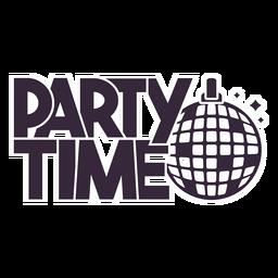 Party Zeit Disco Ball Schriftzug