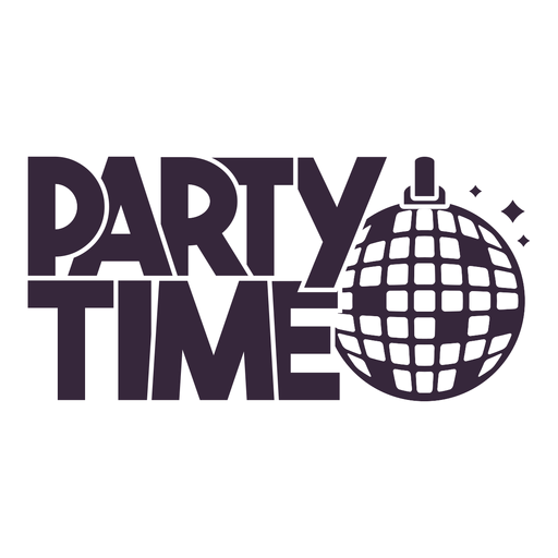 Party time disco ball lettering Transparent PNG