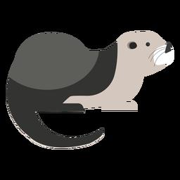 Seeotter-Seitenansicht flach