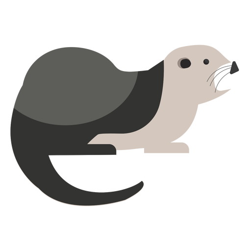 Sea otter side view flat Transparent PNG