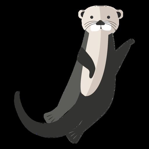 Sea otter waving flat Transparent PNG