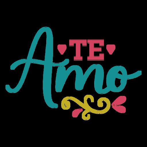 Te amo corações lettering Transparent PNG