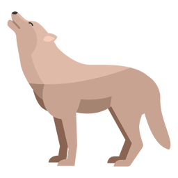 Lobo aullando plana
