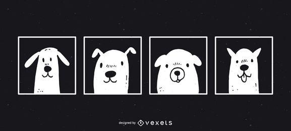 Diseño divertido lindo de la ilustración de los perros