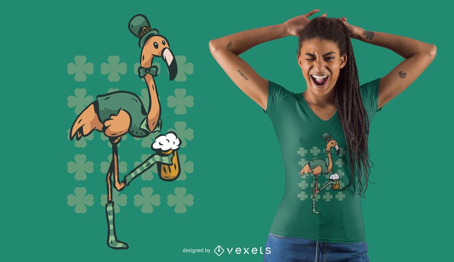 Diseño de camiseta de flamenco del día de San Patricio