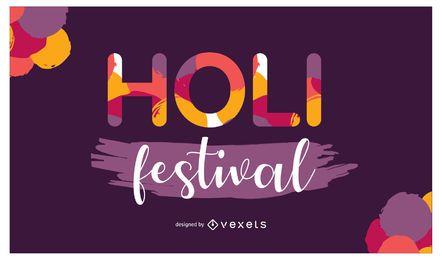 Holi Festival Lettering Design
