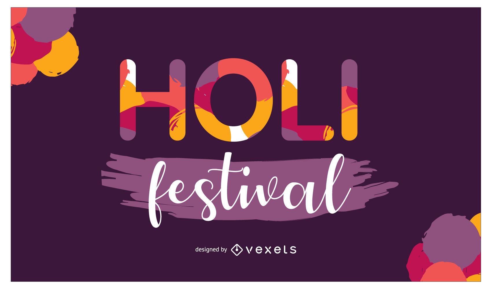 Diseño de letras del festival Holi