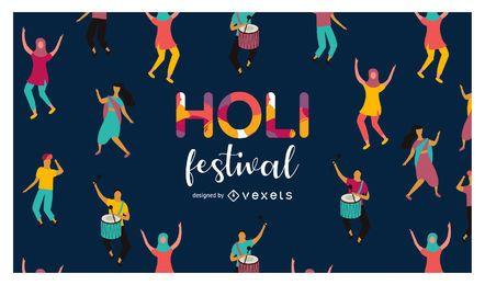 Ilustración del festival holi