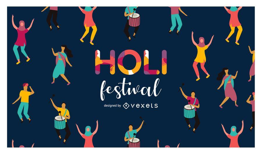 Ilustração do Festival de Holi