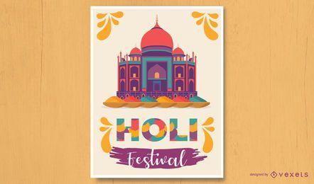 Design de pôster do Holi Festival