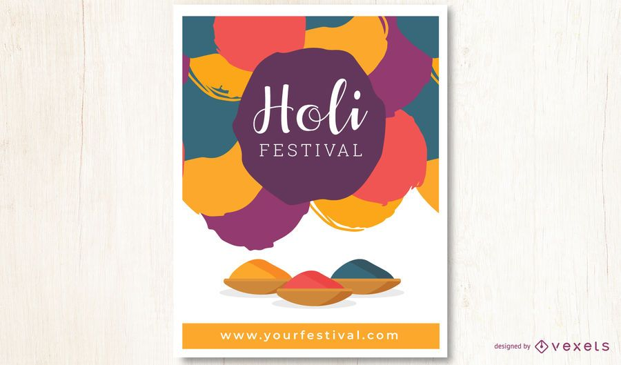 Colorful Holi Festival Lettering Design