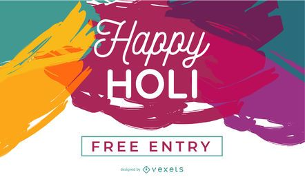 Diseño de cartel Happy Holi