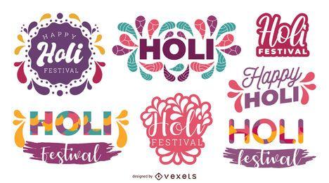 Holi Festival Lettering Set
