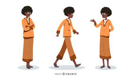 Hombre con conjunto de ilustración afro
