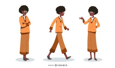 Man with afro Illustration Set