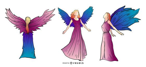 Angels colored silhouette set