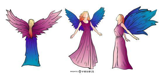 Conjunto de silhueta colorida de anjos
