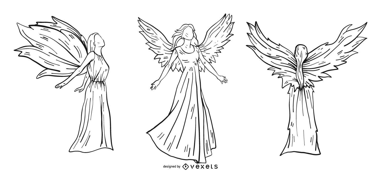 Conjunto de estilo de línea de ángeles