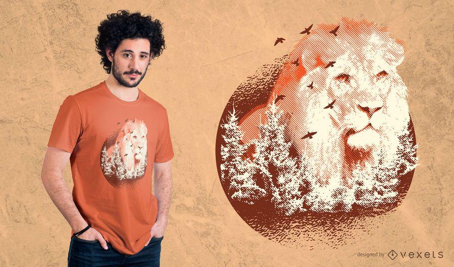 Forest Lion T-Shirt Design