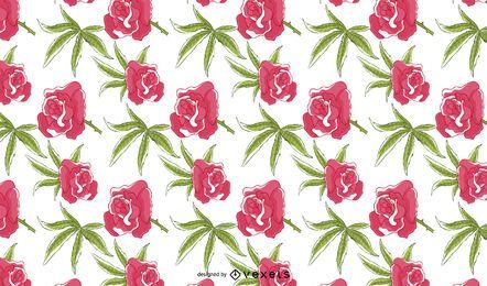Cannabis-Blumenrosen-Muster-Entwurf