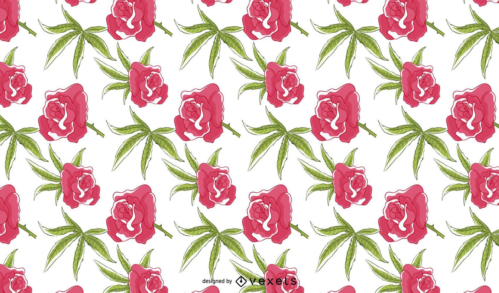 Design de padrão floral rosa cannabis
