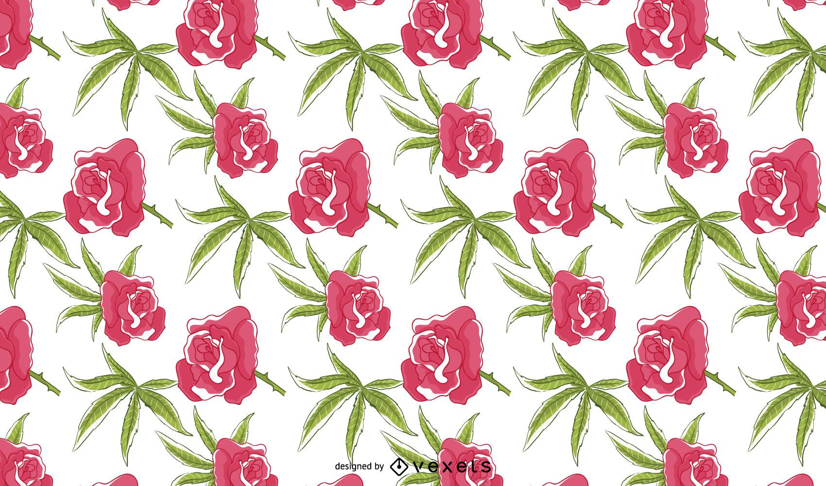 Diseño de patrón floral rosa de cannabis