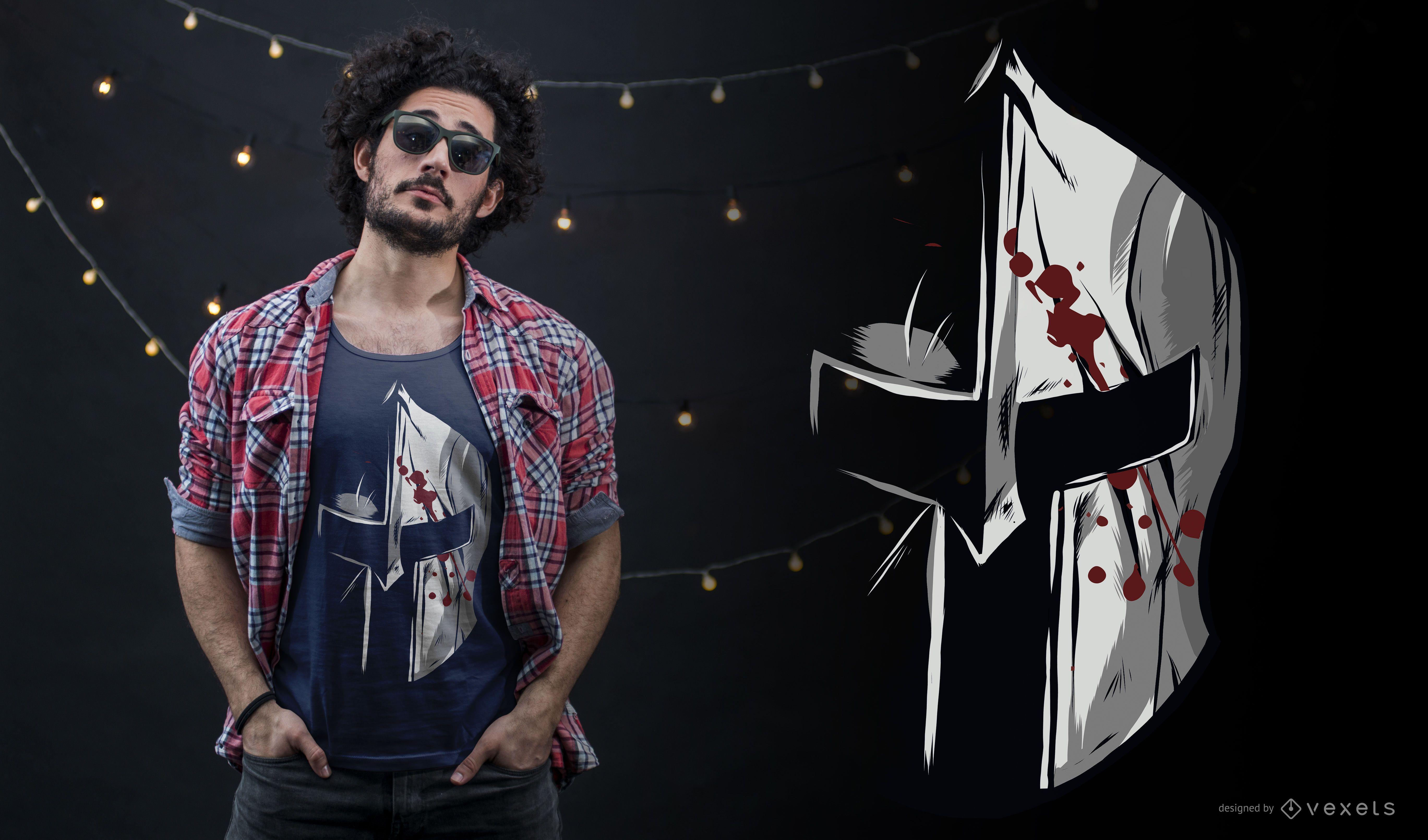 Design de camiseta com capacete espartano