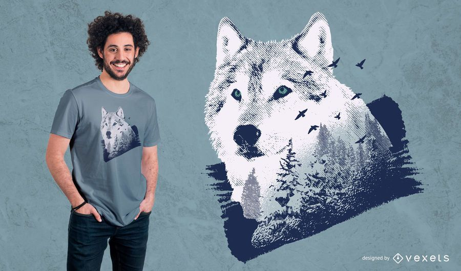 Projeto do t-shirt da floresta do lobo
