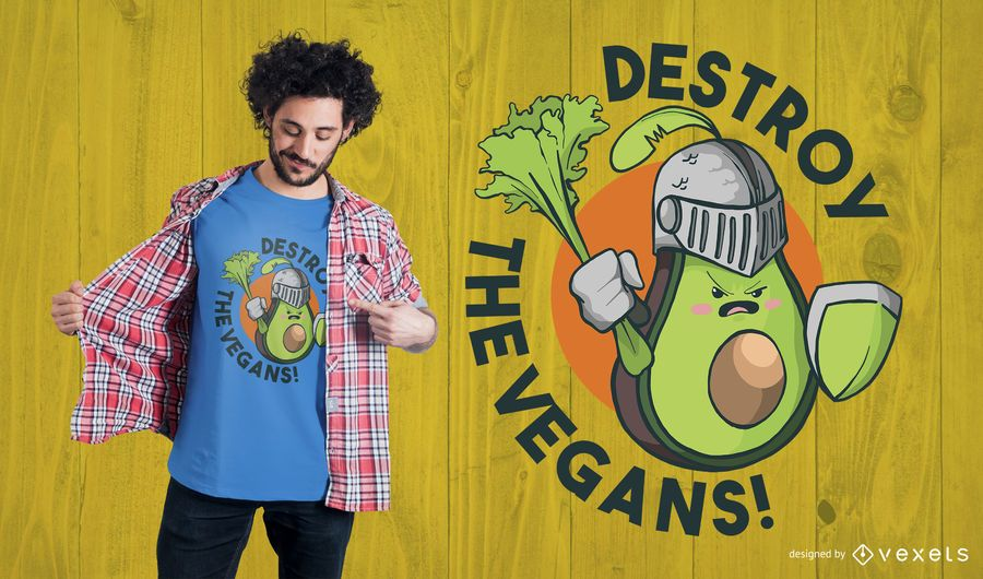 Diseño de camiseta de Destroy the Vegans
