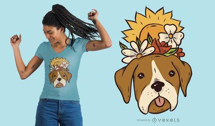 Design floral do t-shirt do cão