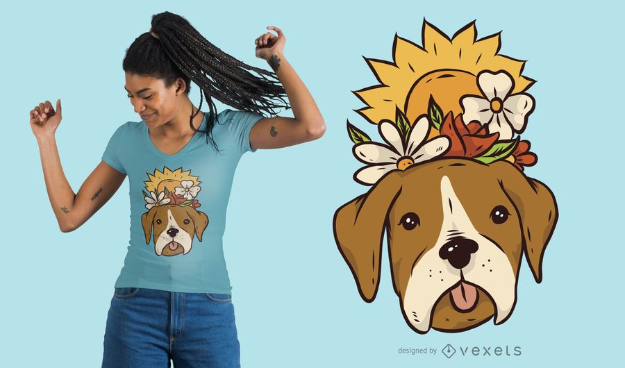 Floral Dog T-Shirt Design