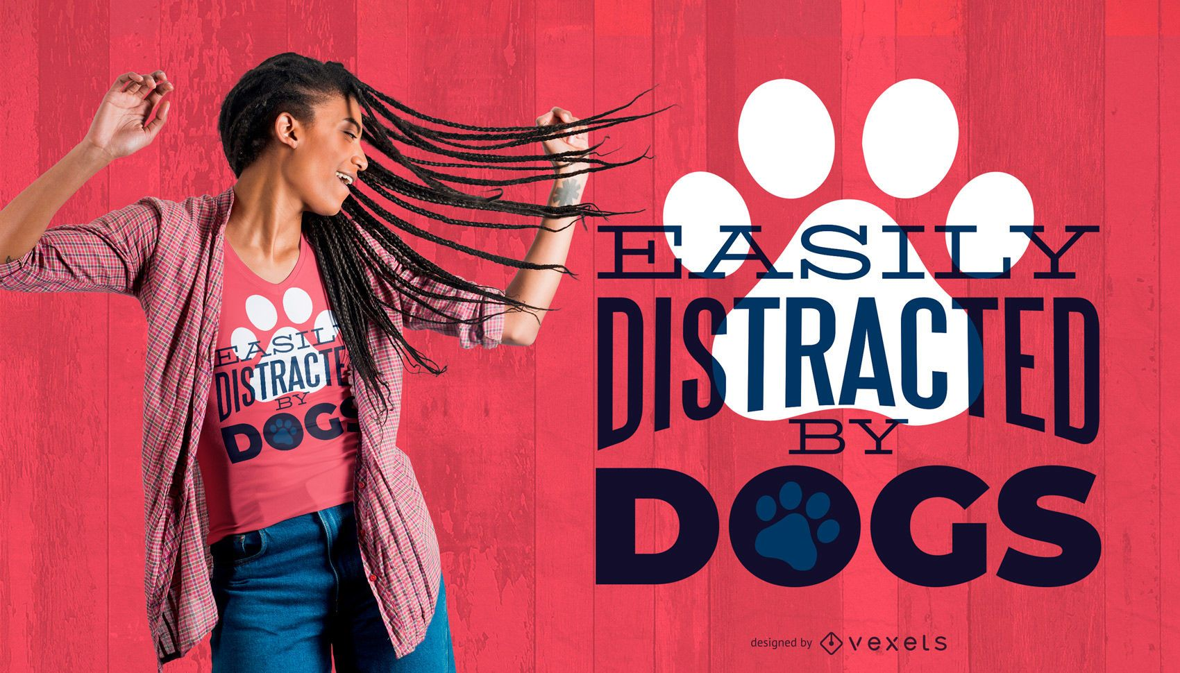 Distracted by Dogs T-Shirt Design