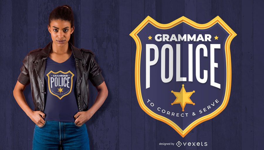 Grammar Police Badge T-Shirt Design