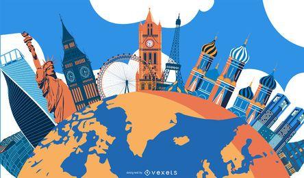 Design de ilustração de marcos do mundo