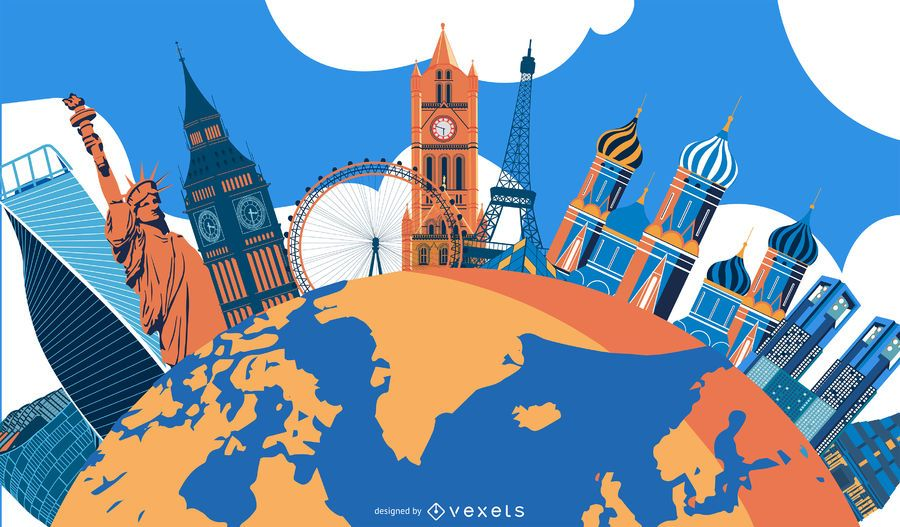 World Landmarks Illustration Design