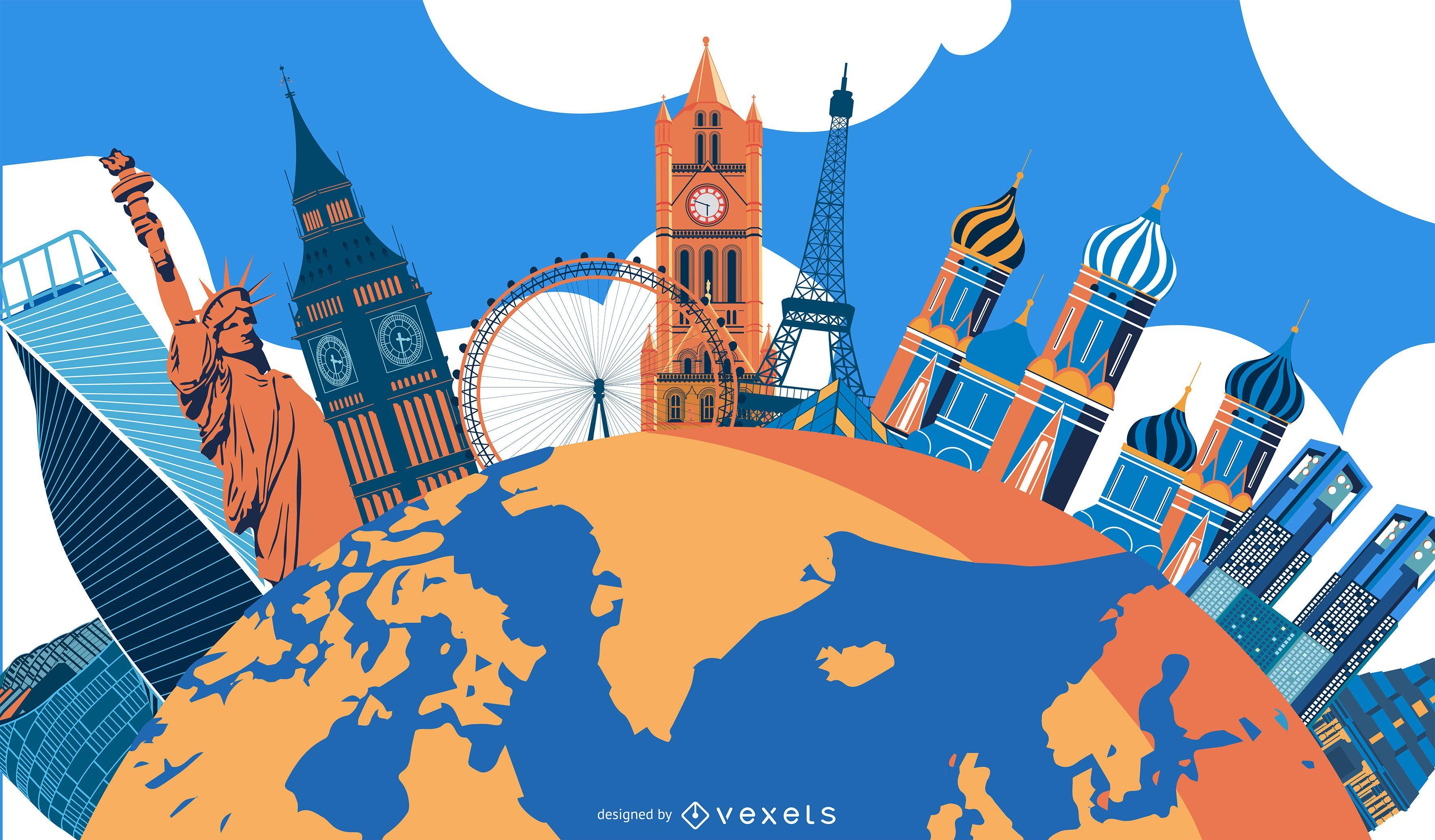 Diseño de ilustración de monumentos del mundo